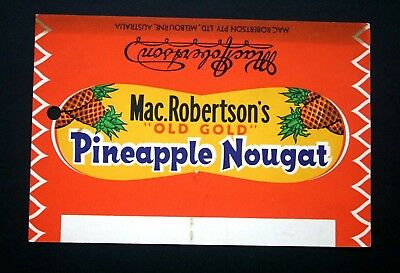 PINEAPPLE NOUGAT - 1960's MacROBERTSON'S AUSTRALIA Chocolate Candy Bar Wrapper