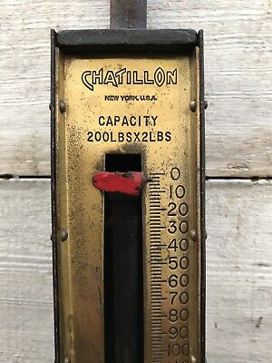 Large Antique Chatillon's Heavy-Duty 200 LB Hanging Scale with Brass Face Plate