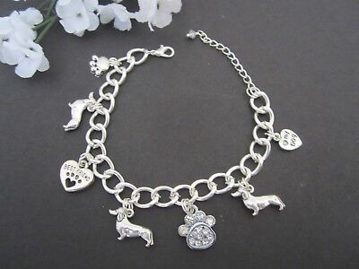 Best Friends Dachshund Dog Bracelet w/ Rhinestone Paw Charm Great Gift