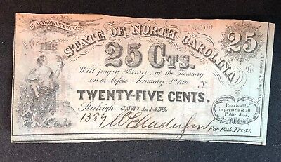 Uncirculated 1863 State of Louisiana 25 Cents Note Civil War Banknote