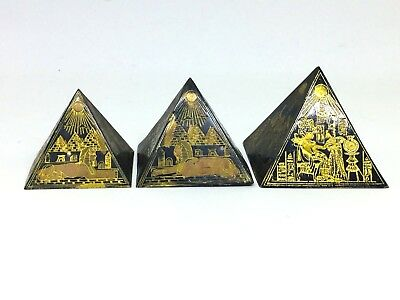 Rare Ancient Egyptian Gods Carved Pyramid Paper Weight Giza Set Of 3 A311-21