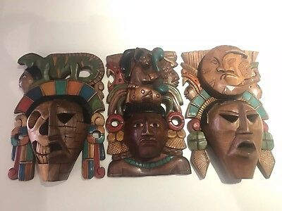 3 Corn God Maiz Mayan Warrior Wood Sun Moon Life Death Aztec Masks Hand Carved
