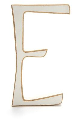 "Wooden Letter ""E"" 5.5""H 3""W White Sanded Edges Name Bedroom Decor EUC J732"