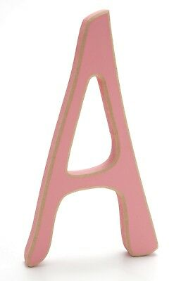 "Wooden Letter ""A"" 5.5""H 3""W Pastel Pink Sanded Edges Name Bedroom Decor EUC J729"