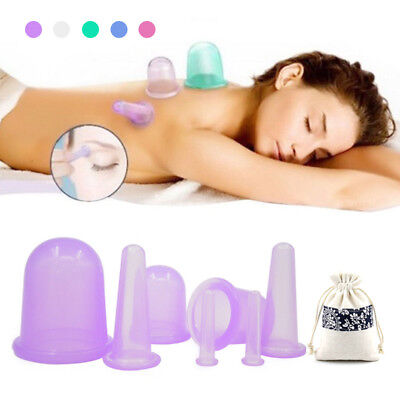 4/7Pcs Set Facial Cupping Massage Silicone Cups Vacuum Therapy Anti Cellulite
