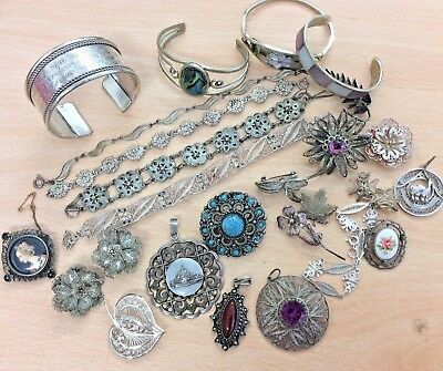 GREAT JOB LOT OF 25 VINTAGE EGYPTIAN ITALIAN ALPACCA SILVER BANGLES BROOCH 210g