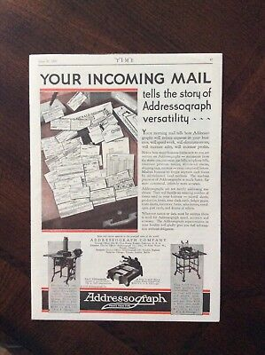 1930 vintage original color ad Addressograph Company Prints From Type