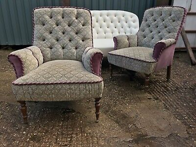 Antique Pair Armchairs Sofa Clearance