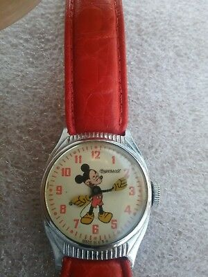 Vintage Ingersoll Mickey Mouse Watch Early 1950's with Speidel Red Leather Band