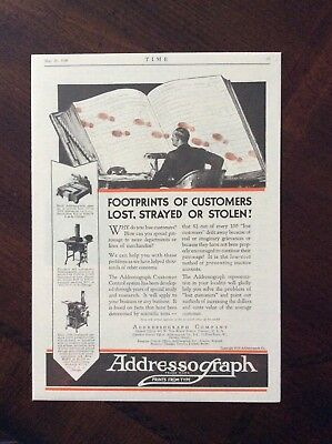 1930 vintage original color ad Addressograph Company Footprints Of Customers