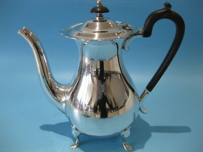 Beautiful Large Antique Walker & Hall Bulbous Silver Plated Footed Coffee Pot
