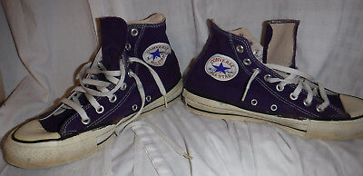 Vintage 1970's Converse All Star Purple Canvas Shoes Men's 6.5 Made In Usa L@@k