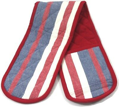 Essential Kitchen Red, white and blue striped Double Oven Gloves