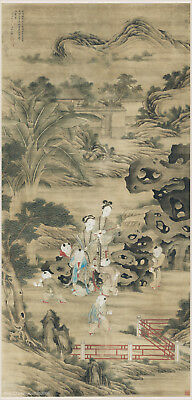 Chinese antique scroll painting on silk Children at play by Wang Pu in Qing dy