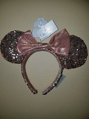 BRAND NEW Authentic Disney Park Minnie Mouse Rose Gold Sequin Ear Headband