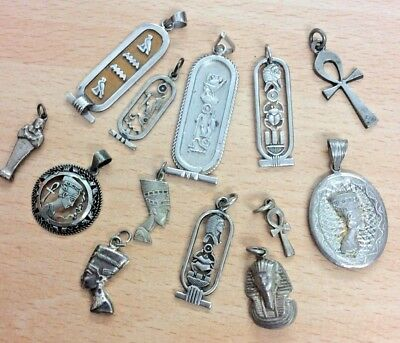 GREAT JOB LOT OF 13 VINTAGE EGYPTIAN SILVER PENDANTS ALL GOOD 1970's 45g