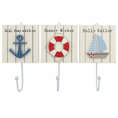 Set Of 3 Nautical Beach Wall Hooks ANCHOR - LIFERING - BOAT Wall Hook Decoration