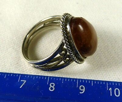 Baltic Amber stone old vintage retro antique ring authentic 4.9 grams 1079