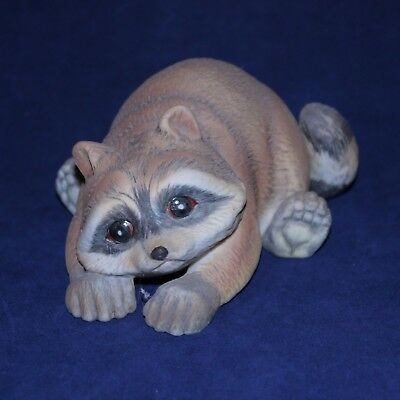 Bisque Raccoon Figurine Signed RJ Brown RSL 1978 Numbered
