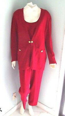ST JOHN Collection Marie Gray Red 4pc Santana Knit Logo Pants and Skirt Suit-10