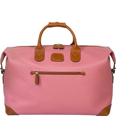 Bric's Italy Duffle Weekend bag medium; PVC and Leather Pink New