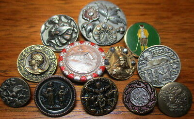 Antique Lot Of 12 Figural Buttons~ Metal/enamel/brass/picture Vintage Picture