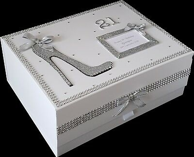 50th Birthday Gift PERSONALISED Large Keepsake Memory Box Silver More Colours