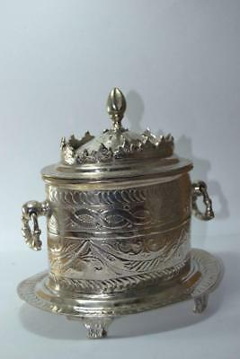 Antique 19th arabic silver plated bowl handle ottoman persian old hand carved
