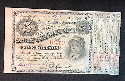 Uncirculated 1875 State of Louisiana 5 Dollar Baby Bond Five Coupons attached