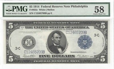 Fr. 855C, $5 1914, FED. RES. NOTE, PHILADELPHIA,  PMG 58 Choice About Unc.