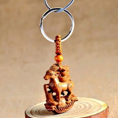 Wood Carving Chinese Zodiac Feng Shui Geomancy Goat Statue Key Chain Ring