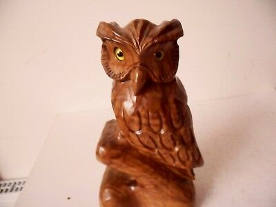 Antique Vintage Black Forest  Carved Wood Figure Of A  Owl