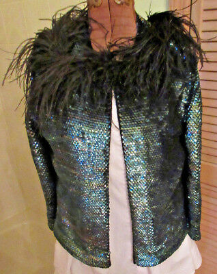 VINTAGE LADIES HAND KNIT BLACK SEQUINED DESIGN SWEATER SMALL Feathers Stunning