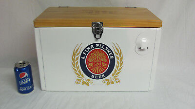 Miller Lite Metal Cooler Ice Chest With Wooden Top And Bottle Opener