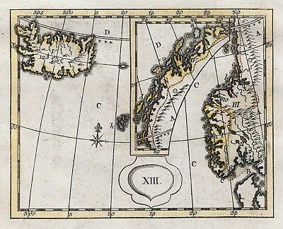 Original antique map of Iceland & Norway from 1784