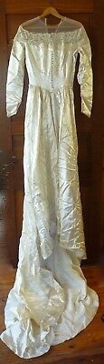 """SATIN  Lace Ivory Long Sleeve Wedding Gown Cathedral Train 25"""" Waist"""