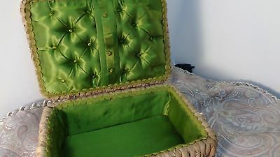 Antique Woven GRASS Sewing BASKET  GERMANY Satin Lined Trinket box  20's BEAUTY