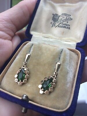 Vintage Rolled Yellow Gold/Tourmaline Paste Dangle Drop Earrings C1940