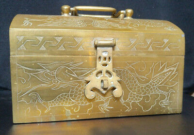 Asian Chinese Vintage/Antique Brass Etched Box Hinged with handles RARE