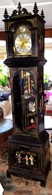 Beautiful Vintage Chinese Grandfather Clock, Carved figures scenery