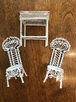 Vintage Wire Wicker Dollhouse Furniture White Chairs & Table Patio Wrought Iron