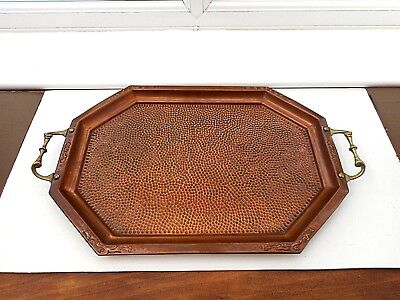 VINTAGE HAMMERED COPPER AND BRASS ARTS & CRAFTS STYLE BUTLER'S TRAY 50CM x 36CM