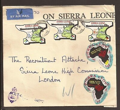 """Sierra Leone. 1970 Airmail, government cover. """"Freetown"""" cancellations"""