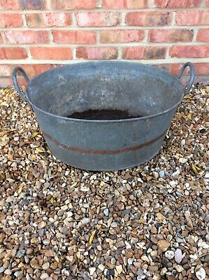 Vintage Galvanised Tin Bath Tub Garden Planter