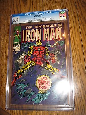 Iron Man #1 (1968, Marvel) Premiere Issue, CGC graded Silver Age VG+/FINE 5.0