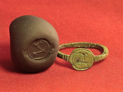 """Medieval Knigth's Seal Ring,  """"Alpha"""" Stamp, 9. Century,"""