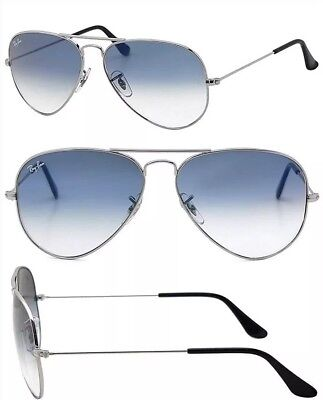 Ray Ban Aviator Classic RB 3025 003/3F Silver Sunglasses Lite Blue Gradient 55mm