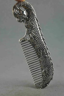 China Collectable Handwork Miao Silver Carve Myth Dragon Exorcism Fashion Comb