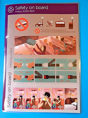 Virgin Atlantic Airlines Safety Card--Airbus 340-600
