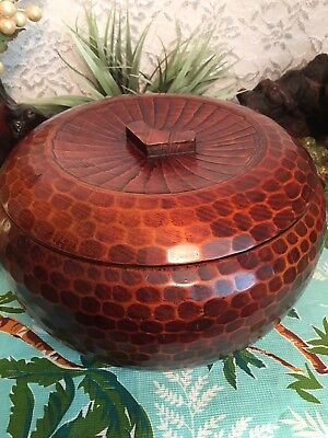 Vintage Large Rice Lidded Serving Bowl Ohitsu Covered Lacquered Wood Japan 10""